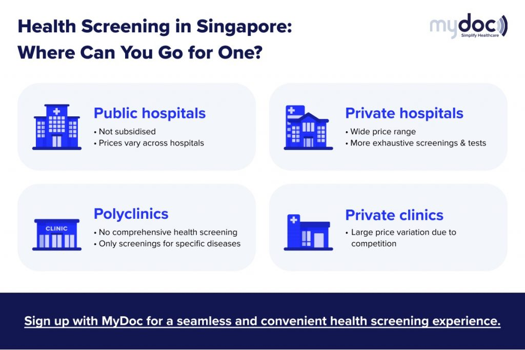 infographic on where to go for health screening in Singapore