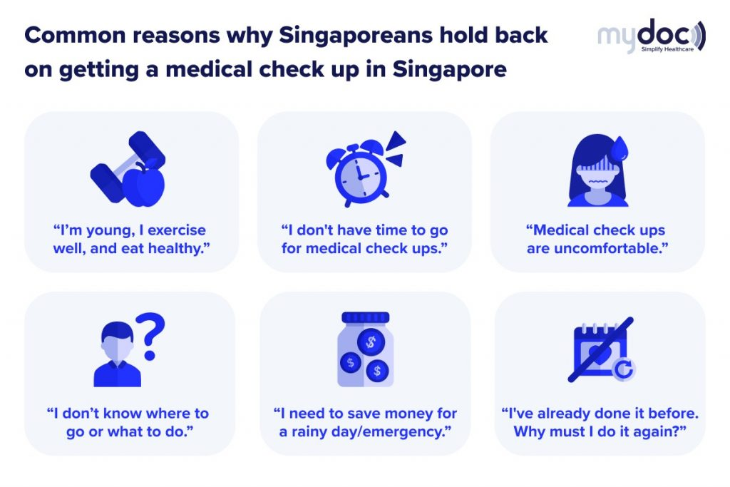 Infographic on common reasons why many people in Singapore avoid medical check ups