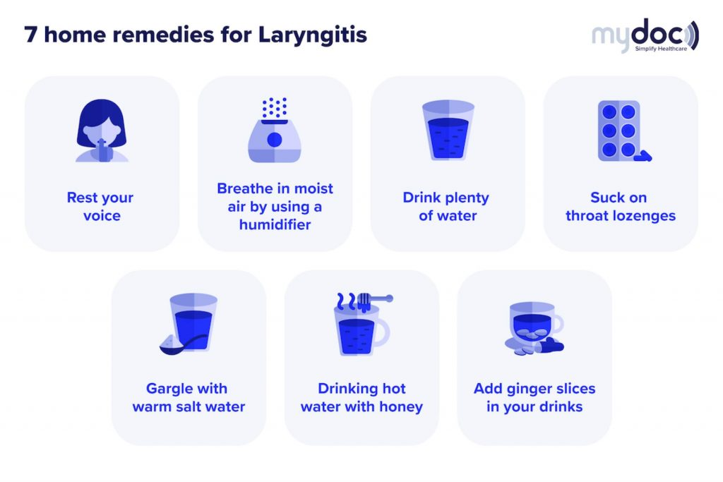 Infographic on the laryngitis home remedies you can do to ease the discomfort