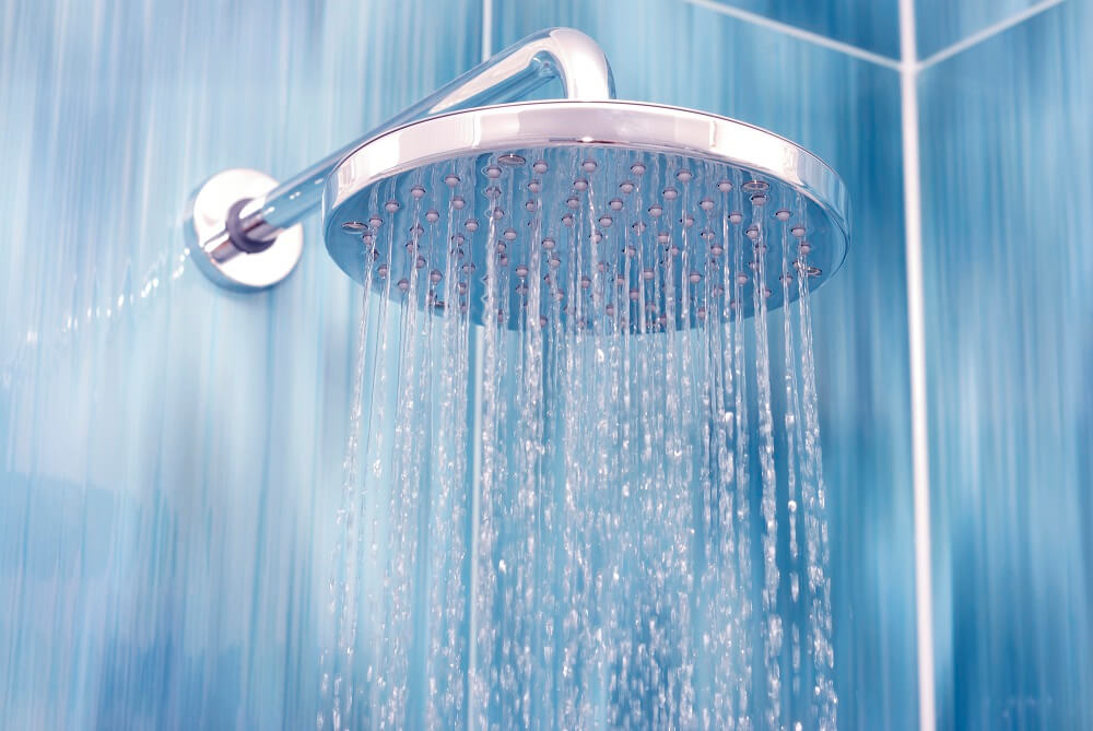 A hot water shower, which can provide sinus headache relief