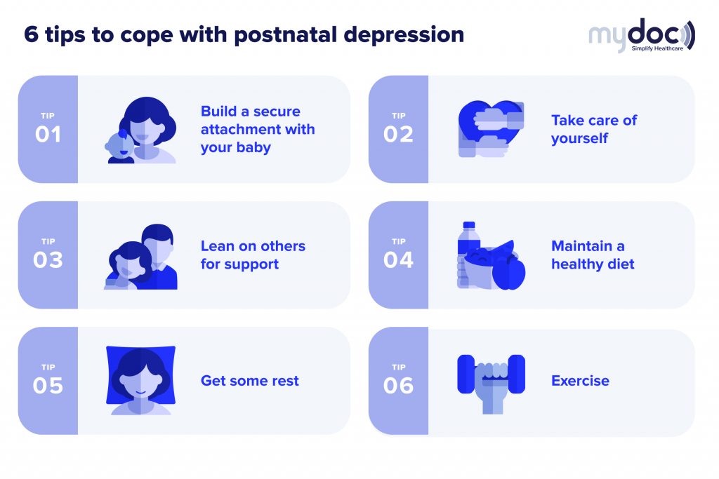 Infographic sharing tips for coping with postnatal depression